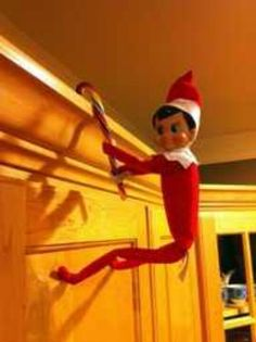 Elf hanging by candy cane
