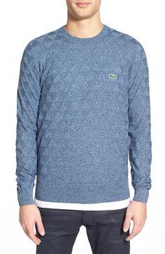 Lacoste L!VE Geometric Textured Crewneck Sweater