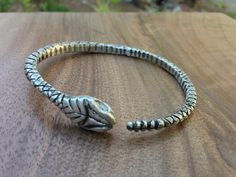 Rattlesnake Bangle. Hand carved and cast sterling silver.