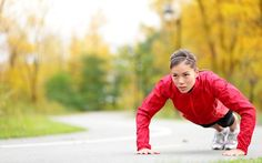 Picture of crossfit woman doing push-ups during outdoor cross training workout Beautiful young and fit fitness sport model training outside in fall stock photo, images and stock photography. Full Body Workouts, Best Body Weight Exercises, Body Exercises, Chest Exercises, Weight Workouts, Fitness Exercises, Ab Workouts, Workout Routines, Workout Ideas