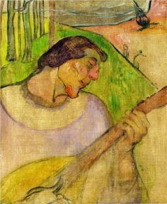 Self portrait with mandolin - Paul Gauguin 1889