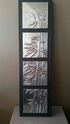 Bamboo in pewter on canvas by Debbie (idea for 3 cdn by elitia)Discover thousands of images about Hot Glue Gun Art - Spray painted with Metallic Silver, distressed with black paint - giving it an antique metal look. Tin Foil Art, Aluminum Foil Art, Tin Art, Pewter Art, Pewter Metal, Soda Can Crafts, Glue Art, Metal Embossing, Copper Art