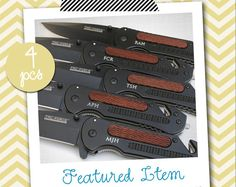4 Groomsmen Gifts PERSONALIZED Knife Engraved Knife by InSwank, $82.65