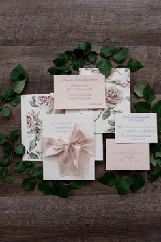 Romantic custom letterpress wedding invitation with silk ribbon