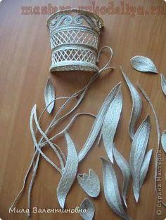 Мастер-класс по филиграни из джутового шнура: Цветы на сетке