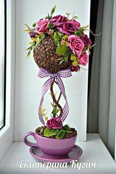 Minden ami kreatív fényképe. Coffee Bean Art, Coffee Beans, Floating Tea Cup, Topiary Centerpieces, Teacup Crafts, Diy Y Manualidades, Silk Floral Arrangements, Flower Ball, Ikebana