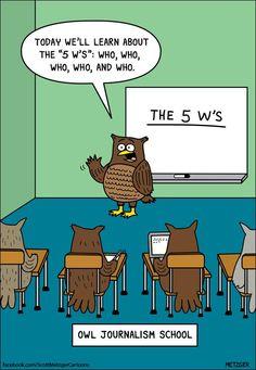 Owl Journalism School. Scott Metzger cartoons.