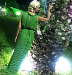 #simplyfes #collection #green #pleated #maxi #dress