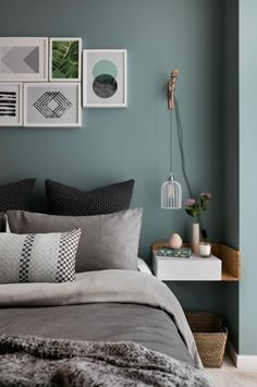 Like this colour behind the bed! Looks great with photos pinned up, too