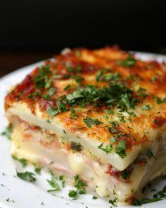 Layered ham and cheese potato bake ~ yes. just yes.