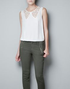 LACE BLOUSE WITH BOW NECKLINE - Shirts - Woman - ZARA United States