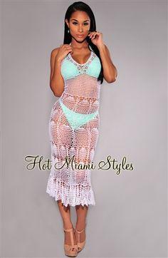 White Silky Crochet Cover-Up Halter Dress.