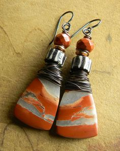 Red Brecciated Jasper Earrings by Gloria Ewing