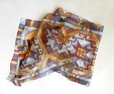 Armenian carpet scarf. Hand painted carpet silk by ArmeniaOnSilk, $95.00
