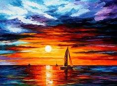 Touch of Horizon — PALETTE KNIFE Oil Painting on Canvas by AfremovArtStudio, $339.00