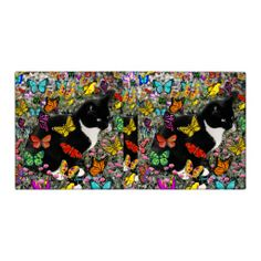 Freckles in Butterflies - Tuxedo Kitty 3 Ring Binders #sold thrilled this little tux #cat sold!!  #butterflies