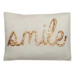 Thro by Marlo Lorenz Smile Sequin Script Feather Filled 14 x 18 Pillow - Free Shipping On Orders Over $45 - Overstock.com - 18089089 - Mobile