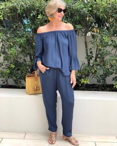 Luxe elegance from head to toe in this stunning Slate Blue Pants and OTS Top from ⠀ Teamed with gold accessories & stunning earrings from it completes the total look 💫 —— Outfit Styled by Linda⠀ . Over 60 Fashion, Mature Fashion, Older Women Fashion, Over 50 Womens Fashion, Fashion Over 50, Love Fashion, Mode Outfits, Casual Outfits, Fashion Outfits