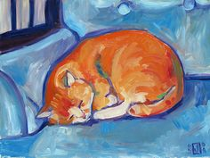 Orange Cat , Blue Chair (by jenjoaquin)