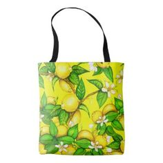 Lemon Print Handbag on yellow #affiliate