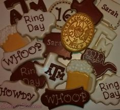 Aggie Ring Cookies by Sweet Station, College Station, 979-690-7502, 14 days notice preferred.