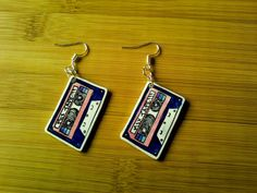 Blue & Pink Mix Tape Cassette Earrings made from Shrink Plastic, sealed with acrylic.