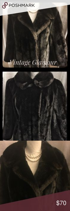 ✨SALE✨Vintage 1960's Faux Fur Coat SZ 10/12 G Vintage 1960's faux fur. The sleeves hit right above the wrist. The body is an outward design on the bottom, falling right below the hips. The color is a rich dark chocolate brown, a variety of other browns and black shining through. (See pictures)It can be worn with open or closed neckline. No tag with the size but it fits like a 10/12. Like I said, the body is a fuller design. As with any vintage,there are a couple places the lining could be…