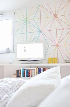 Looks LikE Diamonds! Colourful washi tape wall decor ideas