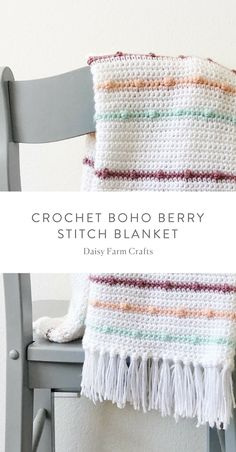 Crochet For Beginners Free Pattern - Crochet Boho Berry Stitch Blanket Crochet Afghans, Crochet Baby Blanket Beginner, Afghan Crochet Patterns, Crochet Stitches, Crochet Blankets, Baby Patterns, Beginner Crochet, Baby Blanket Patterns, Crochet Projects For Beginners