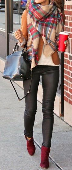 Tartan Scarf & Wine Booties ❤︎ #streetstyle #fallfashion
