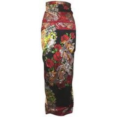118ce1dd Dolce & Gabbana 1999 Chinese Inspired Dragon and Fan Print Wiggle Maxi  Skirt Skirts For