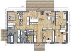 LATO 143 B - Kannustalo House Floor Plans, Home Interior Design, Future House, My Dream, Sweet Home, Cottage, Layout, Architecture, Building