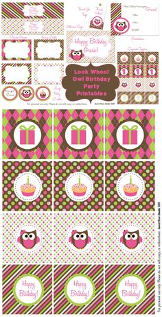 Super adorable and FREE Owl Birthday Party Printables!