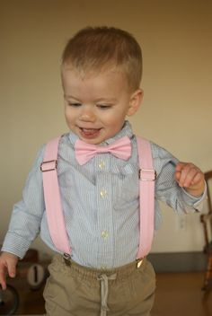 Pink Bow Tie & Suspenders Set  for ring bearer in wedding or for portraits by DapperGent, $37.00