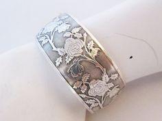 Sterling Cuff Bracelet Embossed Rose Garden by LadyandLibrarian