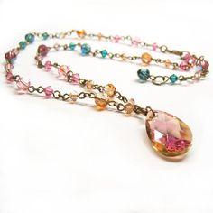 Jewel Toned Drop Necklace by lulabug on DeviantArt Diy Jewelry, Beaded Jewelry, Jewelery, Jewelry Necklaces, Jewelry Design, Beaded Necklace, Jewelry Making, Beaded Bracelets, Jewelry Ideas
