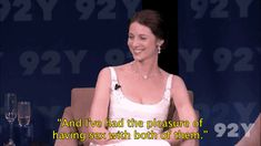 """(gif) - Caitriona: """"They have these things that they give us, these things called 'modesty pouches,' that really don't protect your modesty, dignity, or anything else... it's just really not very cool."""""""
