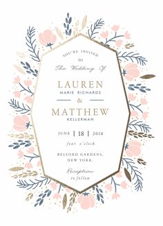 """Florabella"" - Customizable Foil-pressed Wedding Invitations in Pink by Oma N. Foil Stamped Wedding Invitations, Wedding Favor Tags, Baby Shower Invitations, Reception Card, Wedding Website, Wedding Programs, Invitation Design, Wedding Day, Rose Wedding"