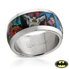 BATMAN Stainless Steel Unisex Ring - What a cool wedding band! Batman Ring, I Am Batman, Superman, Batman Stuff, Stainless Steel Wedding Bands, Stainless Steel Rings, Bijou Geek, Batman Wedding Rings, Nerd Wedding Rings
