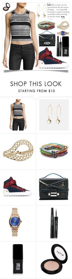 """""""Striped Sleeveless Crop Top, Black/White"""" by camry-brynn ❤ liked on Polyvore featuring 19 Cooper, Avenue, Maison Margiela, Isabel Marant, Versace, Nixon, Dolce&Gabbana, JINsoon and Stila"""