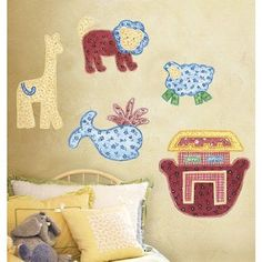 Noahs Ark Patchwork Animals Vinyl Mural Wall Stickers -- Read more reviews of the product by visiting the link on the image.