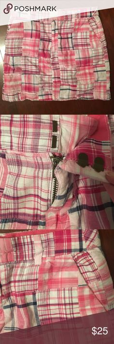 Pink and white madras / plaid preppy skirt 2/XS Great condition. Worn just a few times. Not too short! Very soft cotton with white lining. Breaths great! Telluride clothing co Skirts Mini