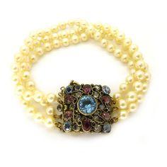 Vintage 1940s Hobe Filigree Silver Gilt Pearl Necklace & Bracelet Set | Clarice Jewellery | Vintage Costume Jewellery