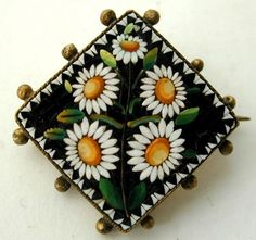 Victorian Mosaic Pin Brooch Daisies on Black Brass Knobs on Setting