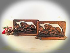 Vintage LION of LUCERNE BOOKENDS  c1920s by Littco  from Greentiques