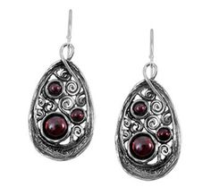 Sterling Triple Garnet Teardrop Dangle Earringsby Or Paz Different Shades Of Red, Just Shop, Garnet Jewelry, My Birthstone, Lace Design, Color Change, Birthstones, Dangle Earrings, Dangles