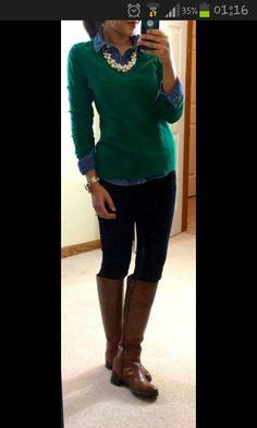 Leggins verde esmeralda camisa jean