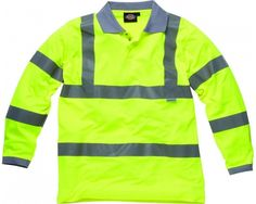 Dickies Hi Visibility Long Sleeve Polo Shirt