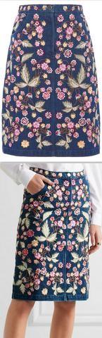 Dark Wash Wild-Flower Denim Skirt