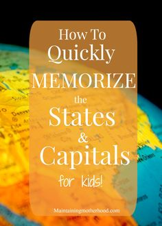 Looking for a trick to quickly memorize States and Capitals? My little kids learned and still remember them all a year later. Check out our tricks! Some kids are really smart Teaching Geography, Teaching Kids, Student Teaching, Fun Learning, Learning Activities, Educational Activities, Learning Shapes, Educational Websites, Learning Tools